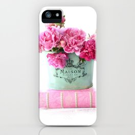 Peonies Pink Aqua French Maison Parisian Decor  iPhone Case