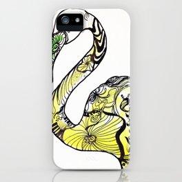 Yellow Flamingo Illustration iPhone Case