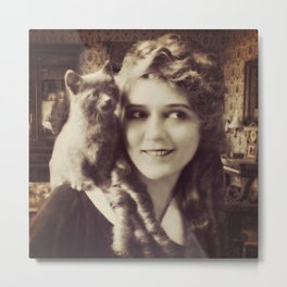 Mary Pickford - Vintage Lady with kitten Metal Print