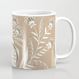 Folk Flower Vase Beige Coffee Mug