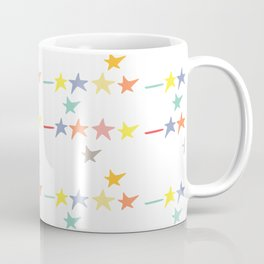 Multicolored doodle little falling stars and dashes on white pattern Coffee Mug