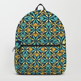 Geometrical pattern in blue and yellow Backpack