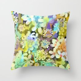 White Blooms from the Forest Floor Throw Pillow
