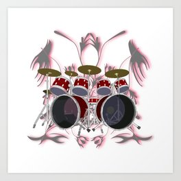 Drum Kit with Tribal Graphics Art Print