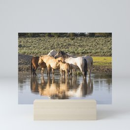 Reflection of a Mustang Family Mini Art Print