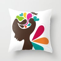 child Throw Pillows featuring Child by Irmak Akcadogan