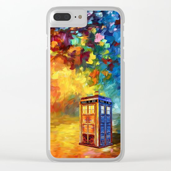 Police Phone Box at Rainbow city Art painting iPhone 4 4s 5 5c 6 7, pillow case, mugs and tshirt Clear iPhone Case