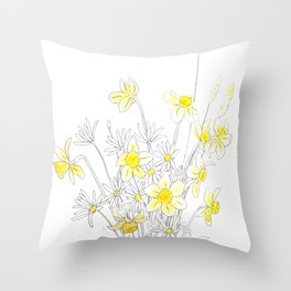 white daisy and yellow daffodils ink and watercolor Throw Pillow