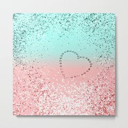 Summer Vibes Glitter Heart #1 #coral #mint #shiny #decor #art #society6 Metal Print