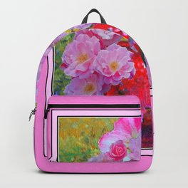 PINK AND MORE PINK ROSES RED VASE ART Backpack