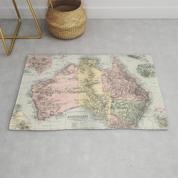 Vintage Map of Australia (1891) Rug by