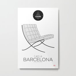 Mies' Barcelona chair (minimalistic version) Metal Print