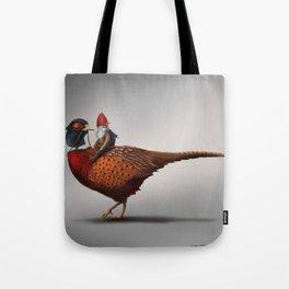 Winter Gnome on Pheasant Tote Bag