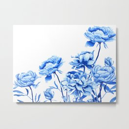 blue peonies 2 Metal Print