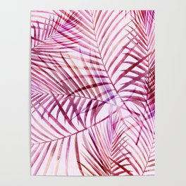 Pink Feathery Palm Pattern Poster