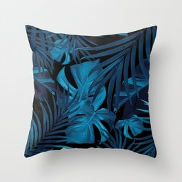 Tropical Jungle Night Leaves Pattern #2 #tropical #decor #art #society6 Throw Pillow