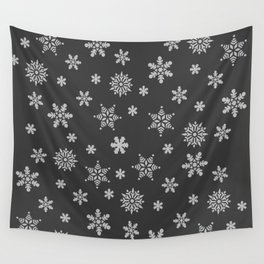 Snow Flurries-Solid Charcoal Wall Tapestry