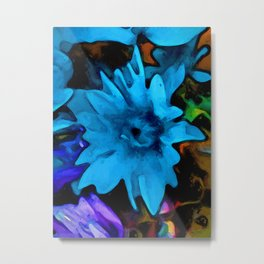 Still Life with a Blue Flower and Rainbow Flowers Metal Print