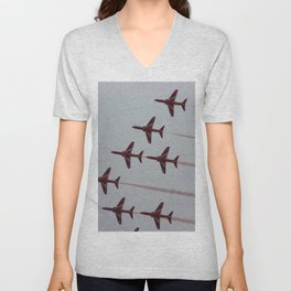 Royal Air Force Fighter Planes In Formation Unisex V-Neck