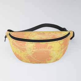 Spring pastels gently orange and yellow circles and ellipses with the image of abstract flowers. Fanny Pack