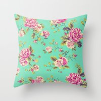 shabby chic Throw Pillows featuring Floral Shabby Chic by ilola