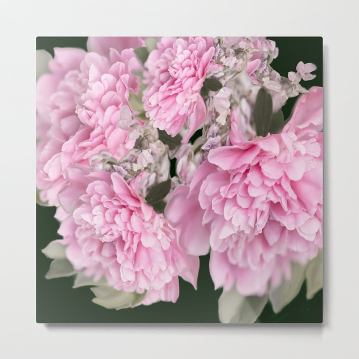 Pink Bouquet On A Black Background  #society6 #buyart Metal Print