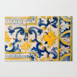 Portuguese azulejos, city of Ericeira Canvas Print