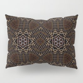 Shapes of stars and snowflakes with dark gold and bronze tones Pillow Sham
