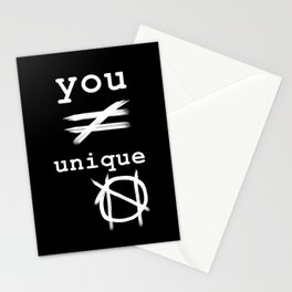 you do not equal unique (white) Stationery Cards