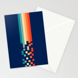 Classic 70s Style Abstract Rainbow Retro Stripes Pixel Drops - Ayako Stationery Cards