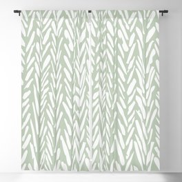 Light green herringbone pattern with cream stripes Blackout Curtain