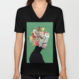 Lady with Birds(portrait) 2 Unisex V-Neck