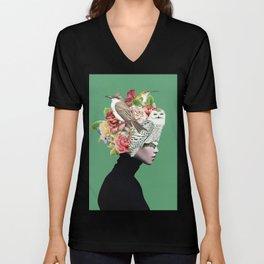 Lady with Birds(portrait) 2 Unisex V-Neck