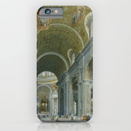 Interior of Saint Peter's, Rome by Giovanni Paolo Panini iPhone Case