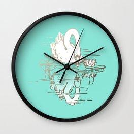 Beautiful Swan Reflection - Riptide Aqua Wall Clock