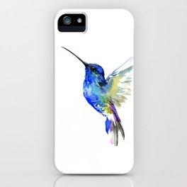 Hummingbird, Turquoise BLue Flying Bird decor iPhone Case