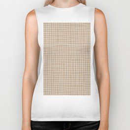 White and Brown Weave Pattern Biker Tank