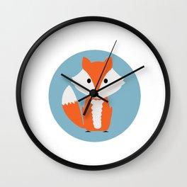 Orange Cartoon Fox Wall Clock