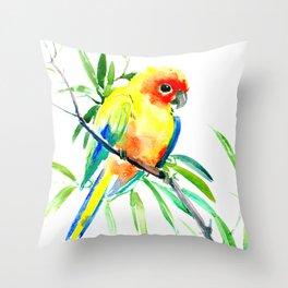 Sun Conure Parakeet, tropical yellow green bird decor Throw Pillow