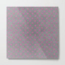 Pink Glitter Dots on grey background Metal Print