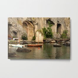 Wooden boat ancient harbor Metal Print