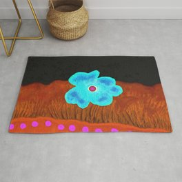 Blue flower and pink rivers Rug
