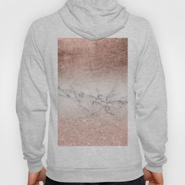 Modern faux rose gold glitter and foil ombre gradient on white marble color block Hoody
