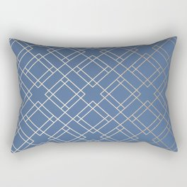 Simply Mid-Century in White Gold Sands on Aegean Blue Rectangular Pillow
