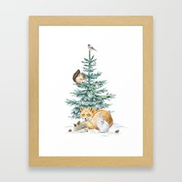 christmas tree in the forest Framed Art Print