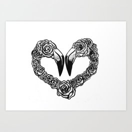 Flamingo Heart Art Print