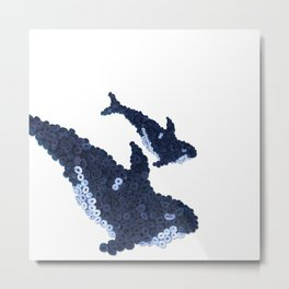 ORCA WHALE- Hand-Rolled Paper Art Metal Print