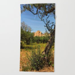 Italy, olive trees and an ancient abbey Beach Towel