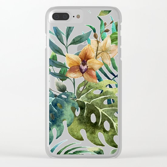 Tropical Floral Pattern 03 Clear iPhone Case