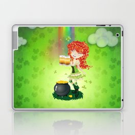Leprechaun girl with beer Laptop & iPad Skin